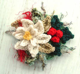 Crochet White Poinsettia Brooch by meekssandygirl