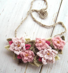Crochet Bib Necklace in Soft Pink Flowers by meekssandygirl