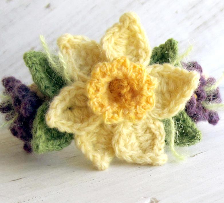 Crochet Daffodil Bracelet With Violets By Meekssandygirl On Deviantart