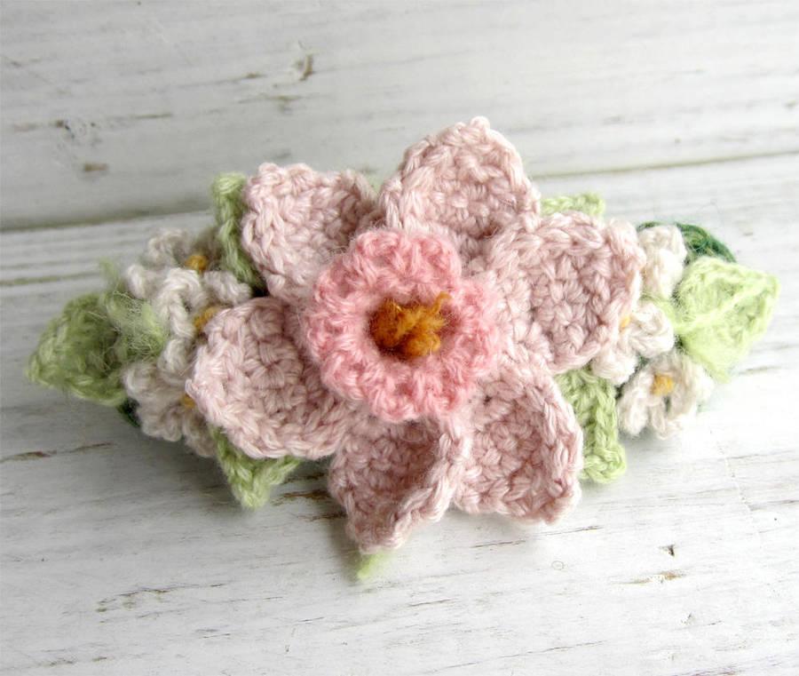 Crochet Hair Barrette Pink Daffodil By Meekssandygirl On Deviantart