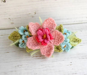 Crochet Hair Barrette Pink with Blue Flowers by meekssandygirl