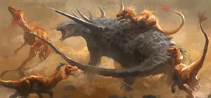 Deinonychus pack vs Sauropelta by RAPHTOR