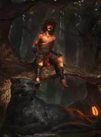 Mowgli and Bagheera by RAPHTOR