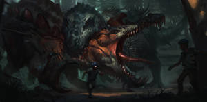 DinoHybrids - Therospinax vs. Belial by RAPHTOR