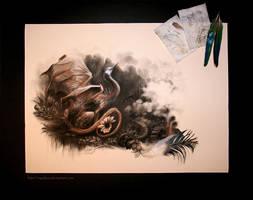 Circling Skies - Heron by cryslara
