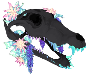 crocodile skull + flowers by aliensphynx