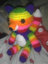 Rainbow Fox Fursona by TalaRedWolf33