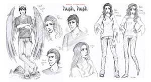 Nora and Patch -HushHush- sketches by EspadaDina