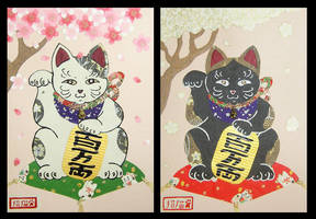 Maneki Neko Cards by crokittycats