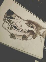 detailed: half wolf / half skull by un-hynged
