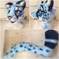 Blue cheetah fursuit partial. by WithCandyDancing