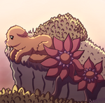 Redpetal on a cliff by BunnyDrawsCats