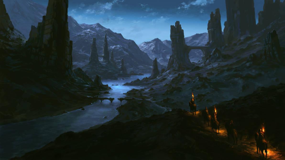 Night ruins by Sketchbookuniverse
