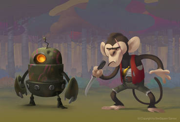 Monkey and robot by Murfish
