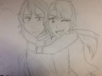 Chieko and Aizawa- Hugs! :BNHA OC by IcyGabrielle