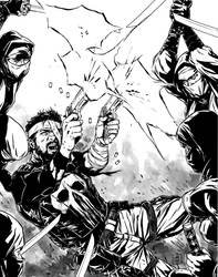 Punisher vs the Hand by MarcLaming