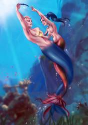Mermaid Katy and Delphin ~ Keepaway by sirenabonita