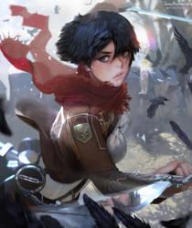 Mikasa Ackerman fan art by TeemuTaiga