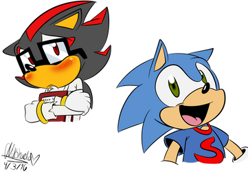 .:Roommates:.Young Sonic and Shadow (bios) by Meggie-Meg