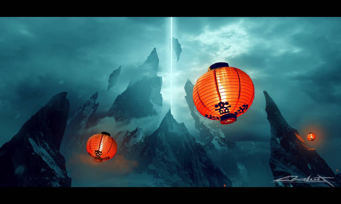 Dreamland of the Samurais (Matte painting) by ebalint96