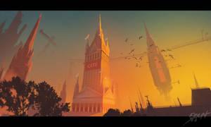 Gothic fantasy city by ebalint96