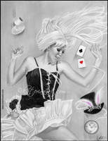Alice Falling (Alice in Wonderland) by Katerina-Art