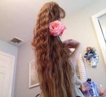 Long Hair Rapunzel  Pink Rose -STOCK by Katerina-Art