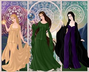 Lady Hemera, MotherGaia and Lady Nyx by PoisonDLucy13