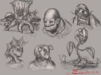 few creature designs by Zabesho