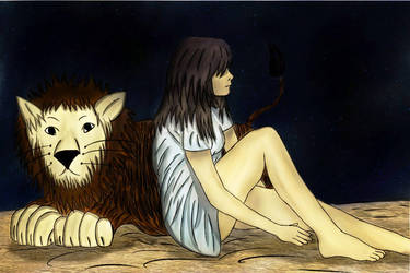 Girl and Lion - for contest by wohoowoo