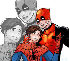 Spideypool by LittleBlueGhostyBoo