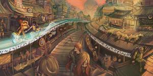 Cityscape: The El-Rail by firecloud