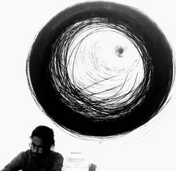 artist is working under the circle  by brinto