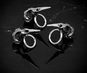 BLACKBIRD SKULL RING by DaveRichardsonArt