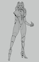 W20180902 - Cyborg Madam lineart by StMan