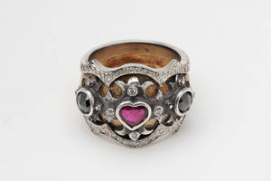 gold diamond and ruby ring by w-l-g