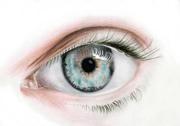 Blue Eye Pencil Drawing by Mibitat