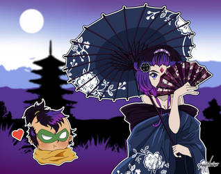 Batman Ninja (Geisha Raven X Ninja Robin) by pastelaine-art