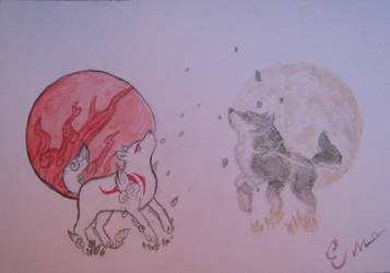 Link and amaterasu by Hyrules-Heart