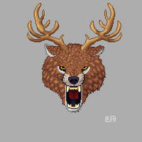 Wolf with Antlers Logo by RollToNotDie