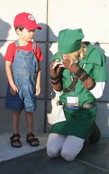 Baby Mario meets Link by BriteWingz