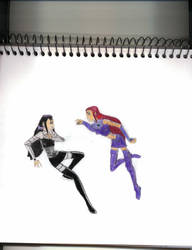 Starfire and Blackfire Argue by LD by titansforever