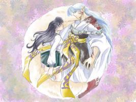 Sesshoumaru and Kagome by wyttiger