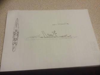 Rough sketch of a dragon transport battleship  by Zgerken