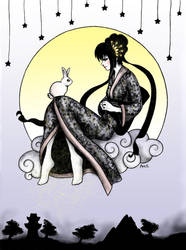 Chang'e and the jade rabbit by frikibunny8