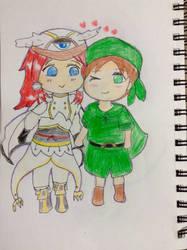 Travis and tsubaki in chiBi style  by mikagami7tokiya