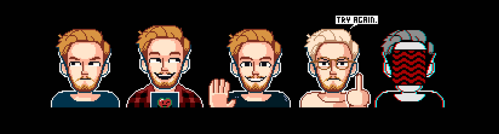 the many (few) faces of PewDiePie by Vikra-Archive
