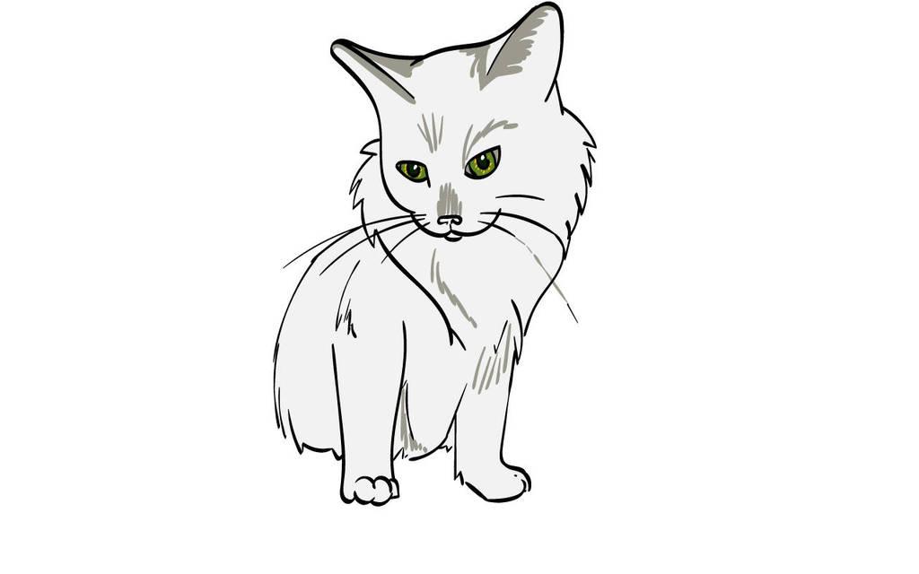 Cat - Angel, White Longhair Bobtail by Nailkita