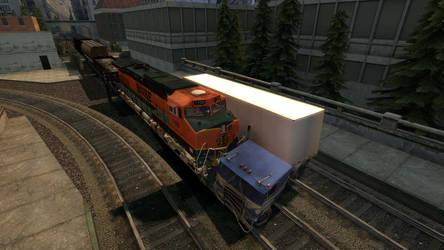 Train crash into Semi Truck by Primon4723