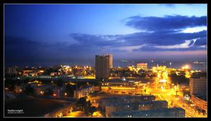 Haifa at night by daphotos